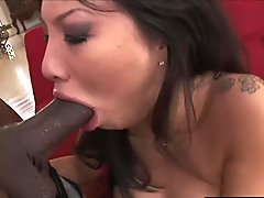 RealAsianExposed - Hot Babe Asa Akira goes to work on a big black cock.