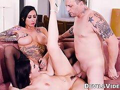 Tattooed MILF Lily Lane cowgirl rides big dick in threesome