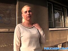 PublicAgent light-haired is fucked on all 4s outside in public