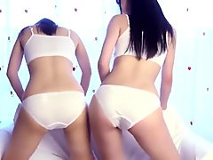 Two Japanese girls in beautiful white cotton panties