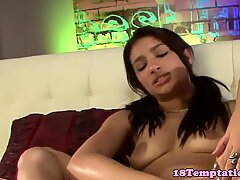 Latina stepsister tugging stepbro