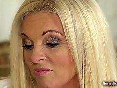 Horny blonde granny with big boobs enjoys good sex