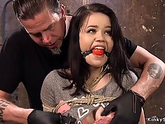 Hogtied in chair Asian gets toyed